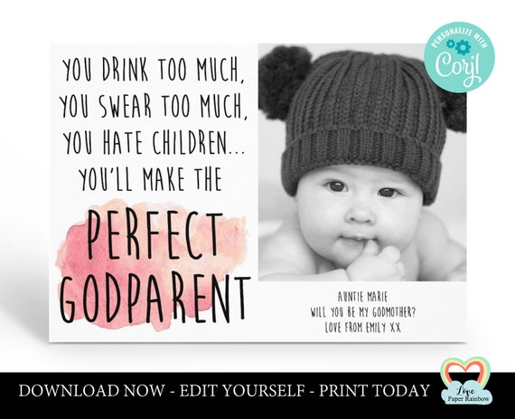 personalized godmother card printable | will you be my godfather | godparents proposal | godmother photo card | funny godparents proposal