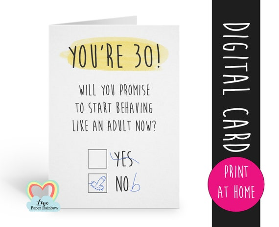 PRINTABLE 30th birthday card digital download funny 30th birthday card instant download rude 30th birthday card printable grow up