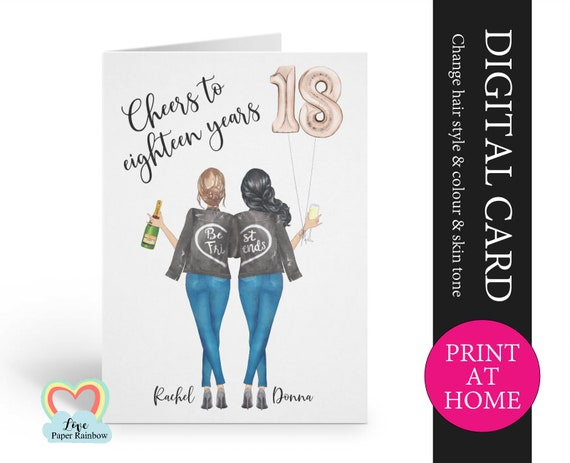 best friend 18th birthday card printable personalised 18th birthday card digital pdf cheers to 18 years custom portrait birthday card,