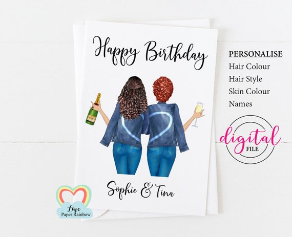 custom birthday card printable personalized birthday card digital download best friend birthday card diy happy birthday sister champagne