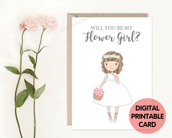 flower girl card printable, will you be my flower girl, flower girl proposal, cute flower girl card
