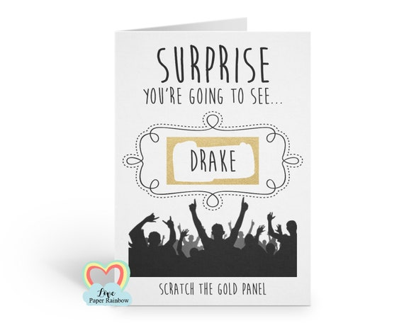 surprise birthday scratch card, surprise christmas scratch card, music concert, festival, gig, show, event ticket, personalised