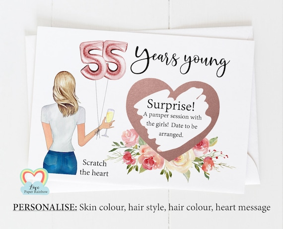 55th surprise card, personalised 55th birthday card, girl 55th birthday card, 55th birthday scratch card, scratch and reveal card,