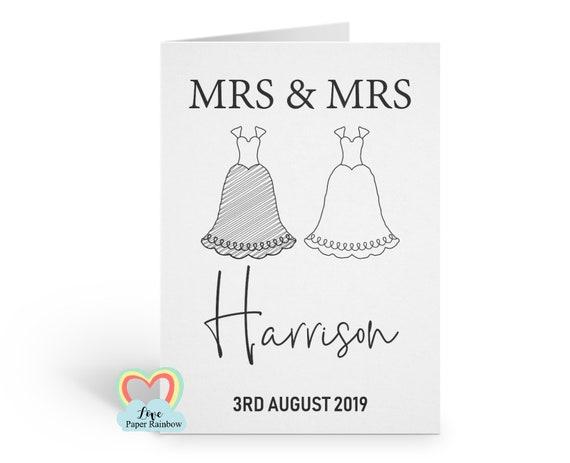 Mrs & Mrs wedding card | gay wedding card | personalised wedding card | wedding suits | lesbian anniversary card | mrs and mrs anniversary