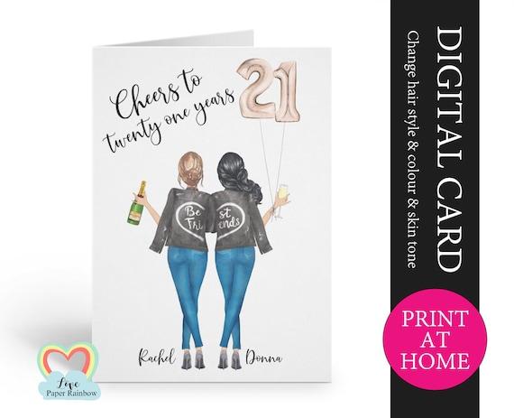 best friend 21st birthday card printable personalised 21st birthday card digital pdf cheers to 21 years custom portrait birthday card,