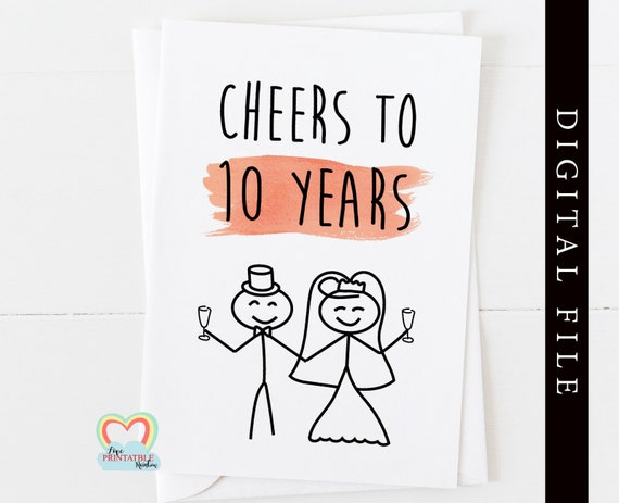 10th anniversary card printable cheers to 10 years instant download anniversary card 10 years together digital card printable 10 anniversary
