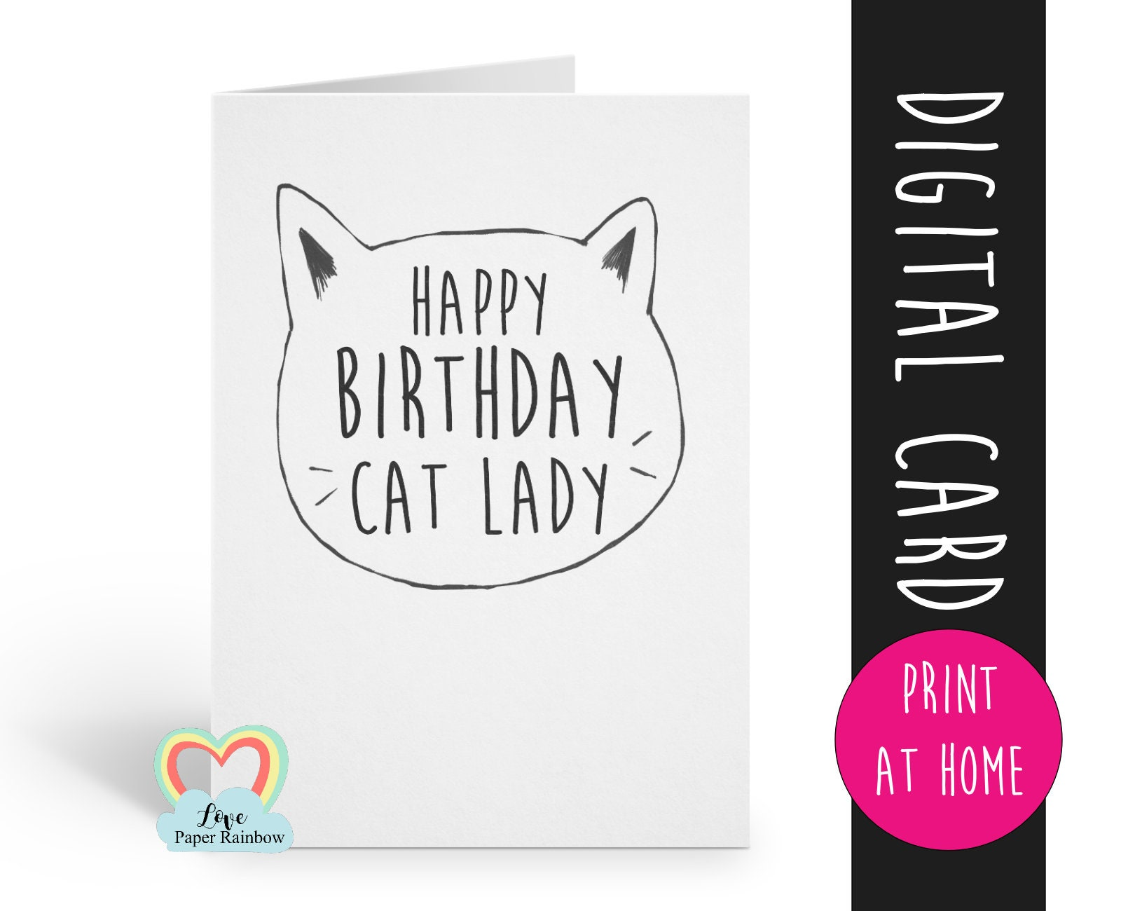 PRINTABLE Cat Birthday Card Funny Happy