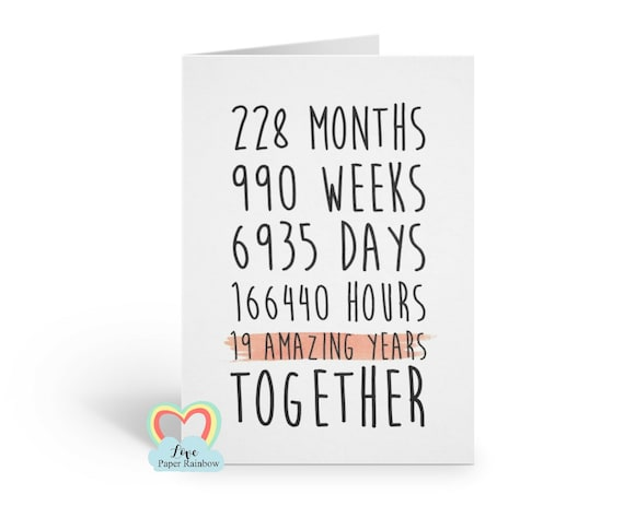19th anniversary card, 19th wedding anniversary card, 19 amazing years, 19 years together, valentines card, gay anniversary card