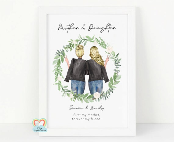 mother and daughter print, first my mother forever my friend, mum birthday gift, mother quote print, mum 60th birthday, gift for mum