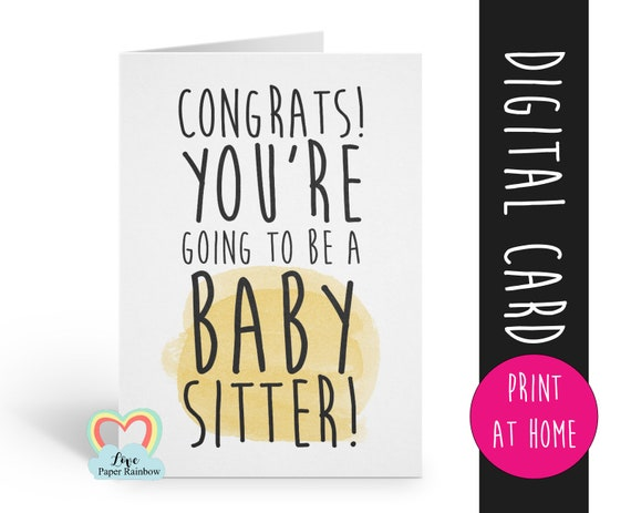 PRINTABLE pregnancy announcement printable funny pregnancy reveal you're going to be a baby sitter an aunty grandma uncle i'm pregnant