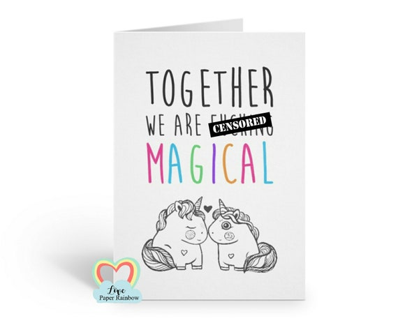 unicorn anniversary card together we are fucking magical funny valentine's day card unicorn best friend card girlfriend boyfriend love card