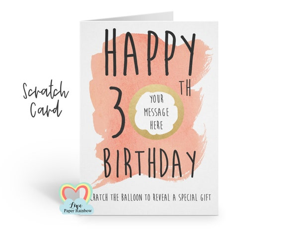 30th birthday scratch card | personalised 30th birthday card | scratch and reveal 30th birthday | 30th birthday gift | surprise trip 30th