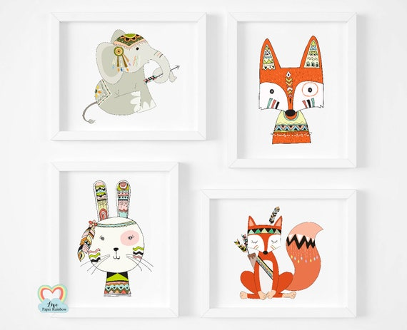 cute animal nursery prints, tribal nursery prints, woodland theme nursery, tribal animals, set of 4 nursery prints, fox, bear, elephant