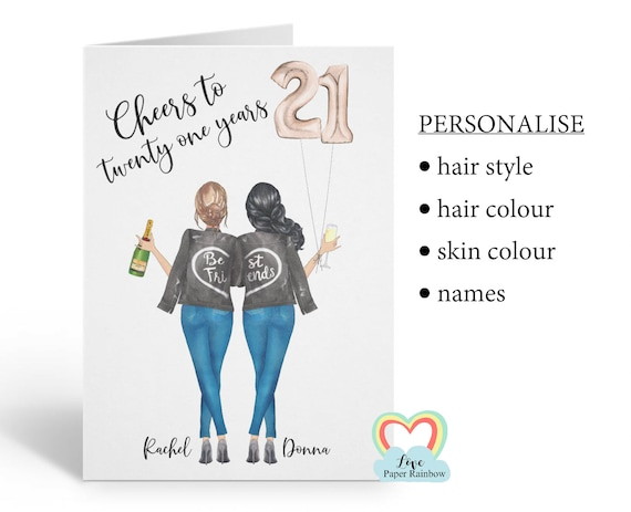 best friend 21st birthday card, personalised 21st birthday card, cheers to 21 years, personalised best friend birthday card, portrait card