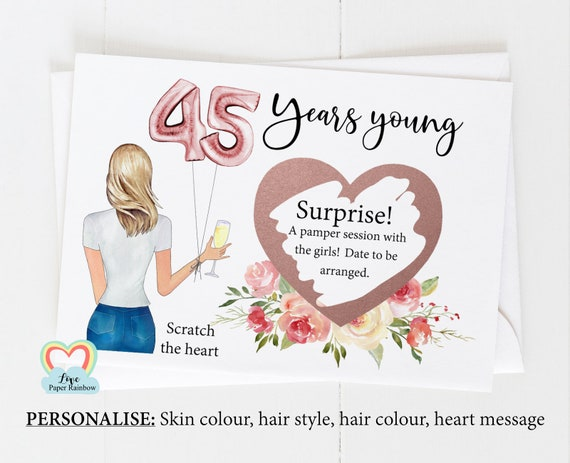 45th surprise card, personalised 45th birthday card, girl 45th birthday card, 45th birthday scratch card, scratch and reveal card,