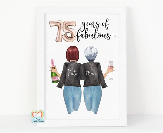 mum 75 birthday print, mum 75th birthday gift, personalised 75th birthday gift, sister 75th birthday gift, personalised friend print