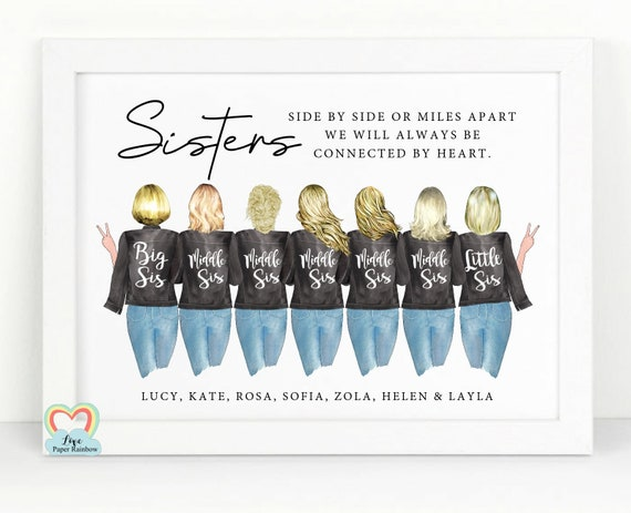 sisters print, personalised sisters print, 7 sisters print, side by side or miles apart, sister quote, sister birthday gift,