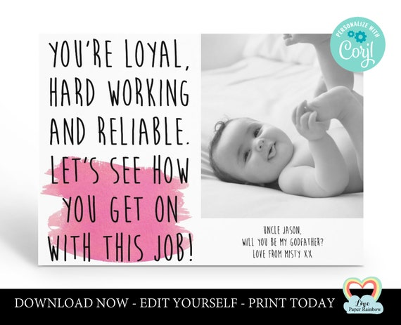 personalized godmother card printable   will you be my godfather   godparents proposal   godmother photo card   funny godparents proposal