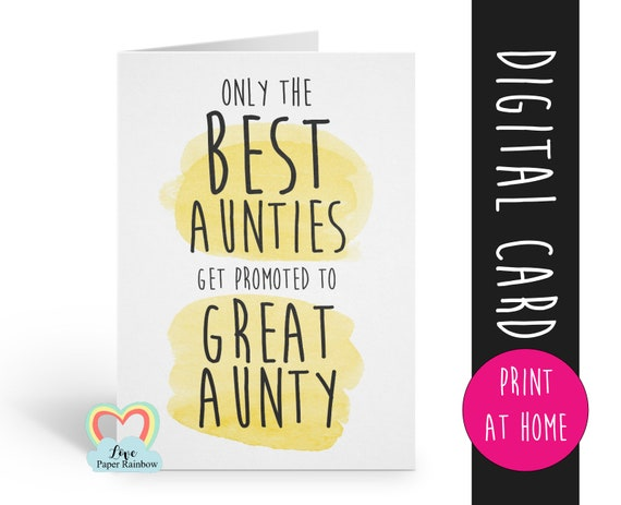 only the best aunties get promoted to great aunty PRINTABLE you're going to be a great aunt pregnancy reveal love paper rainbow i'm pregnant
