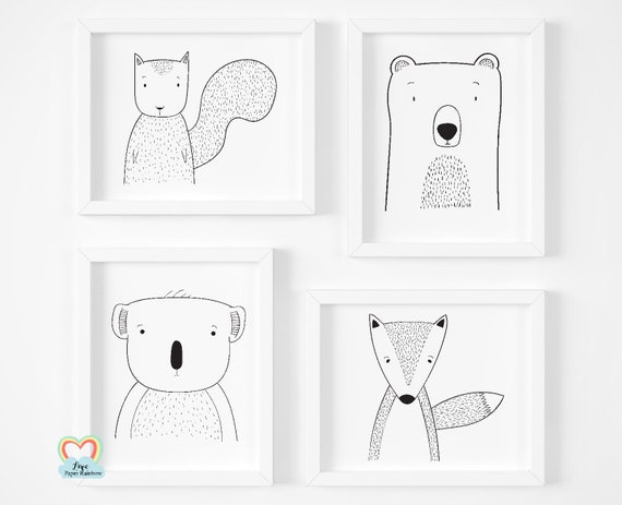 cute animal nursery prints, black and white nursery prints, zoo theme nursery, woodland animals, new baby gifts,