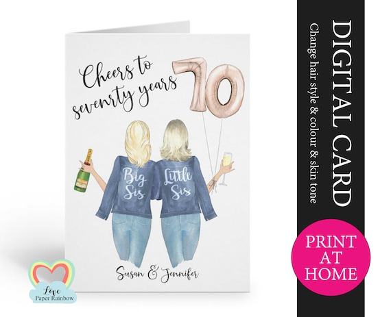 personalized 70th sister birthday card printable cheers to 70 years digital pdf custom little sister 70th printable card print at home