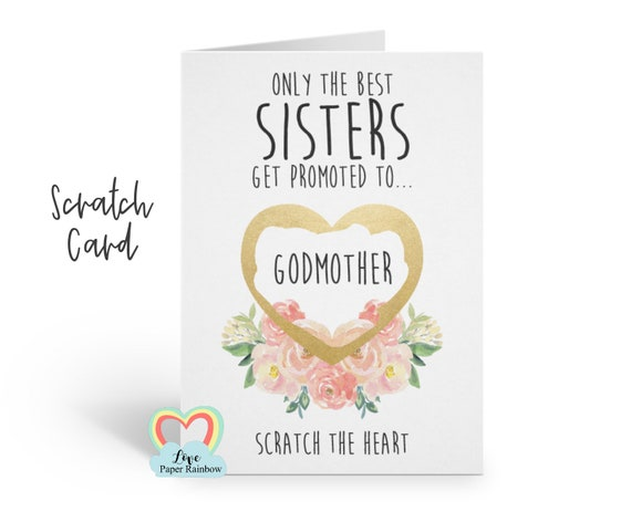 godmother card, godmother scratch card, will you be my godmother card, only the best sisters get promoted to godmother, sister godmother