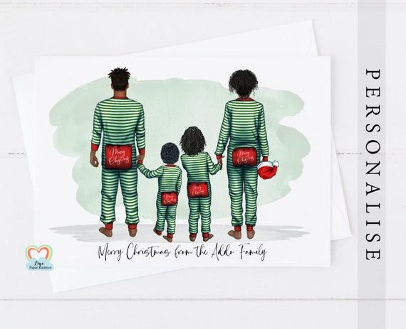 pajama family christmas card, personalised christmas card, family christmas card, family of 4 Christmas card, parents and child christmas