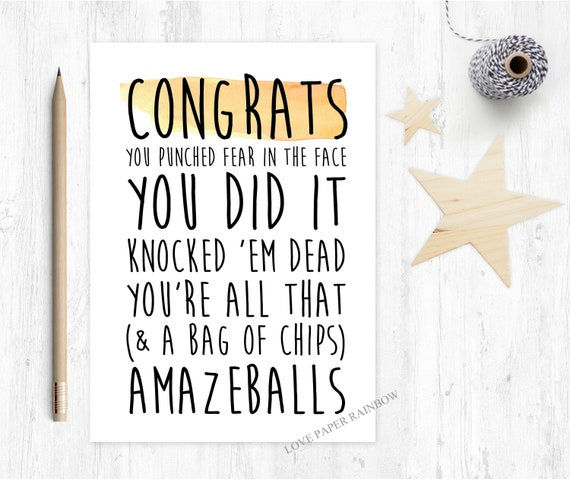 congratulations card funny congratulations card graduation card new job card motivational card love paper rainbow congrats you did it
