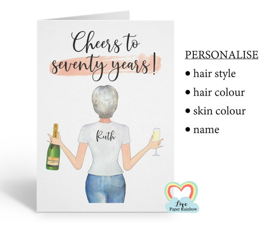 friend 70th birthday card, personalised 70th birthday card, cheers to 70 years, best friend 70th, love paper rainbow