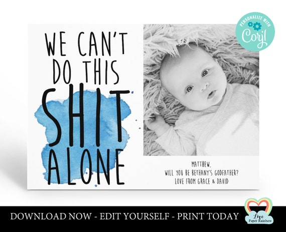 godparents card printable | we can't do this shit alone | photo card | will you be my godmother | personalized godmother card printable