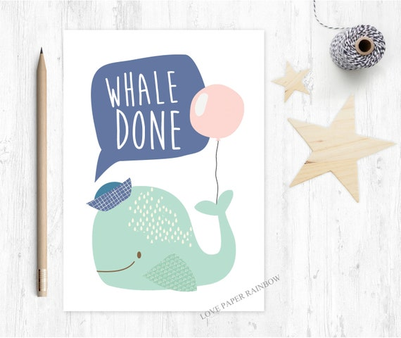graduation card funny congrats card well done whale done greeting card pass driving test kids congratulations card pun