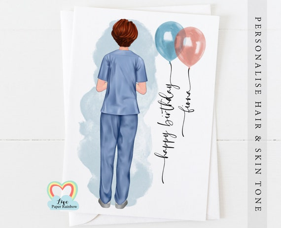 nurse birthday card, midwife birthday card, personalised birthday card for nurse, card for midwife