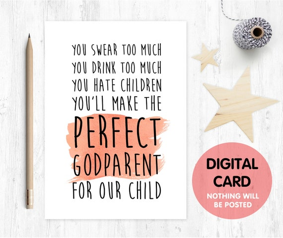 funny will you be my godmother card, godmother card, printable godmother card, godmother proposal printable,