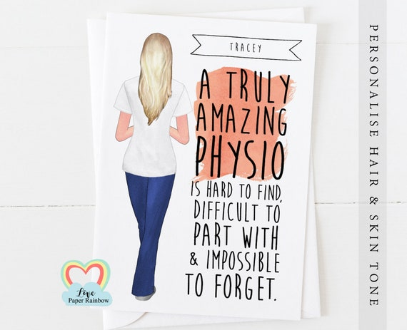 personalised physio retirement card, physio leaving card, physiotherapist card, physio graduation card, thank you physio