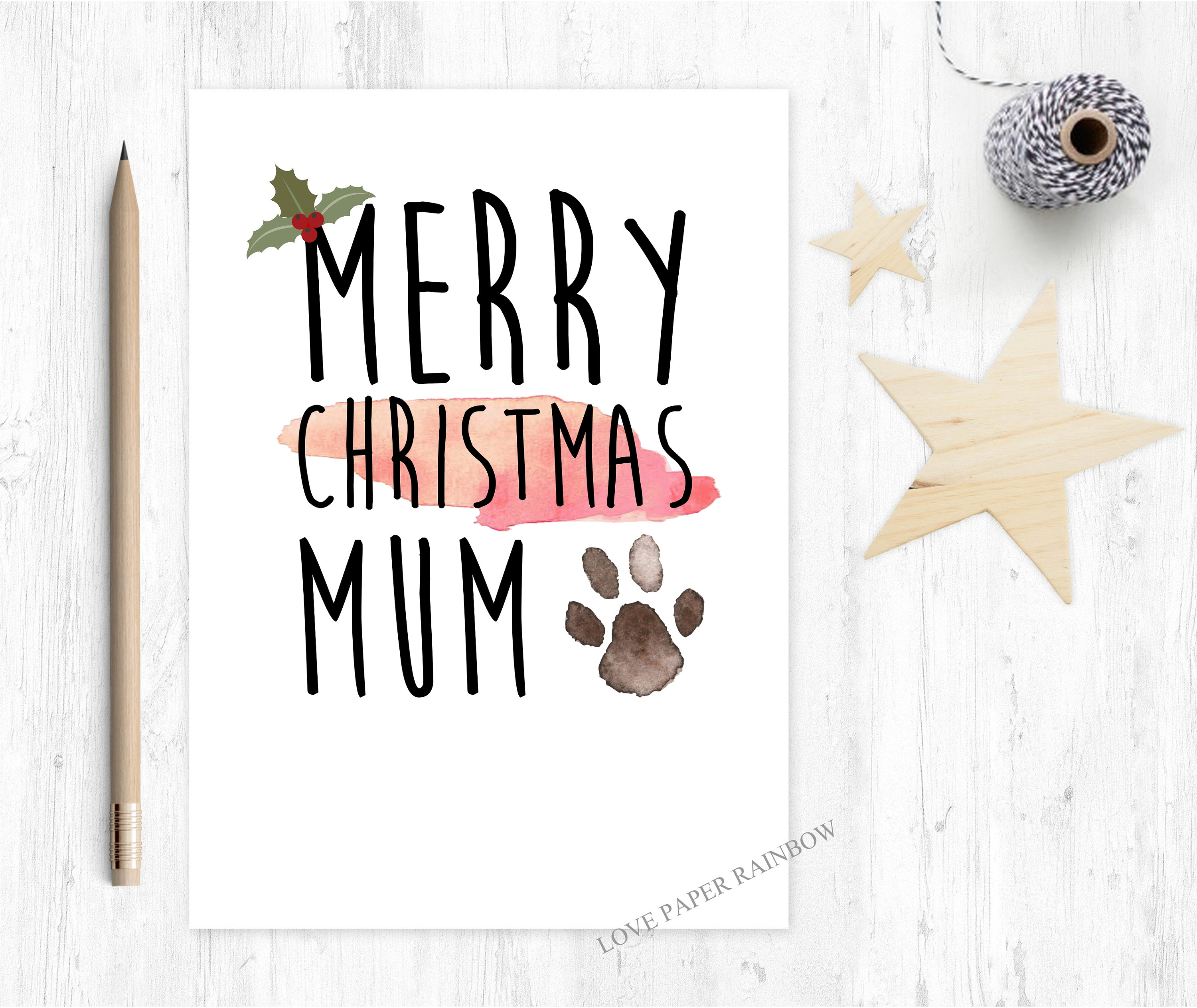 merry christmas from the dog, christmas card from the dog, dog mum ...