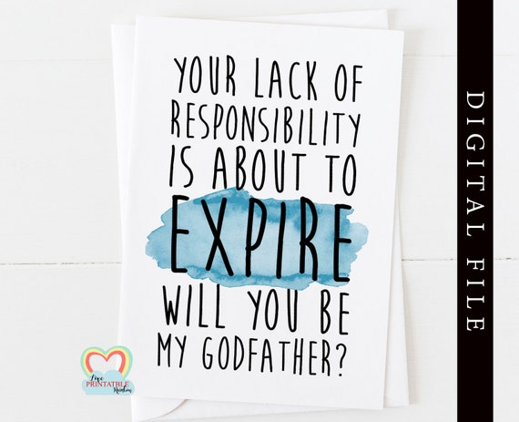 godfather card printable funny godfather proposal instant download will you be my godfather print at home love paper rainbow digital card