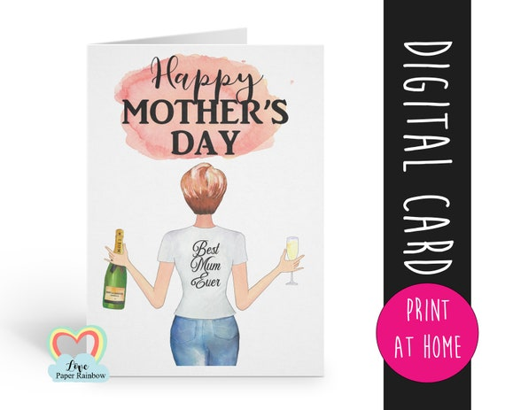 personalised mother's day card printable watercolour portrait custom hairstyles best mum ever digital download pdf love paper rainbow