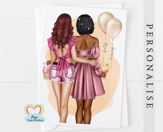 best friend 40th birthday card, personalised 40th birthday card, sister 40th birthday, personalised best friend birthday card, party dresses