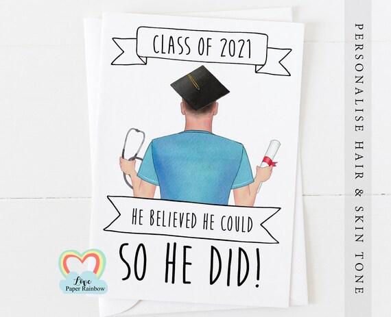 personalised male nurse graduation card, nurse graduation gift, personalised nurse graduation print, he believed he could so he did
