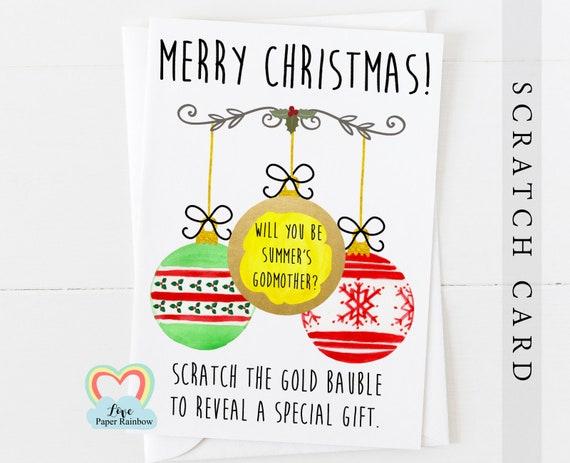 christmas godmother scratch card | christmas godfather card | christmas godparents card | will you be my godmother | godmother bauble card