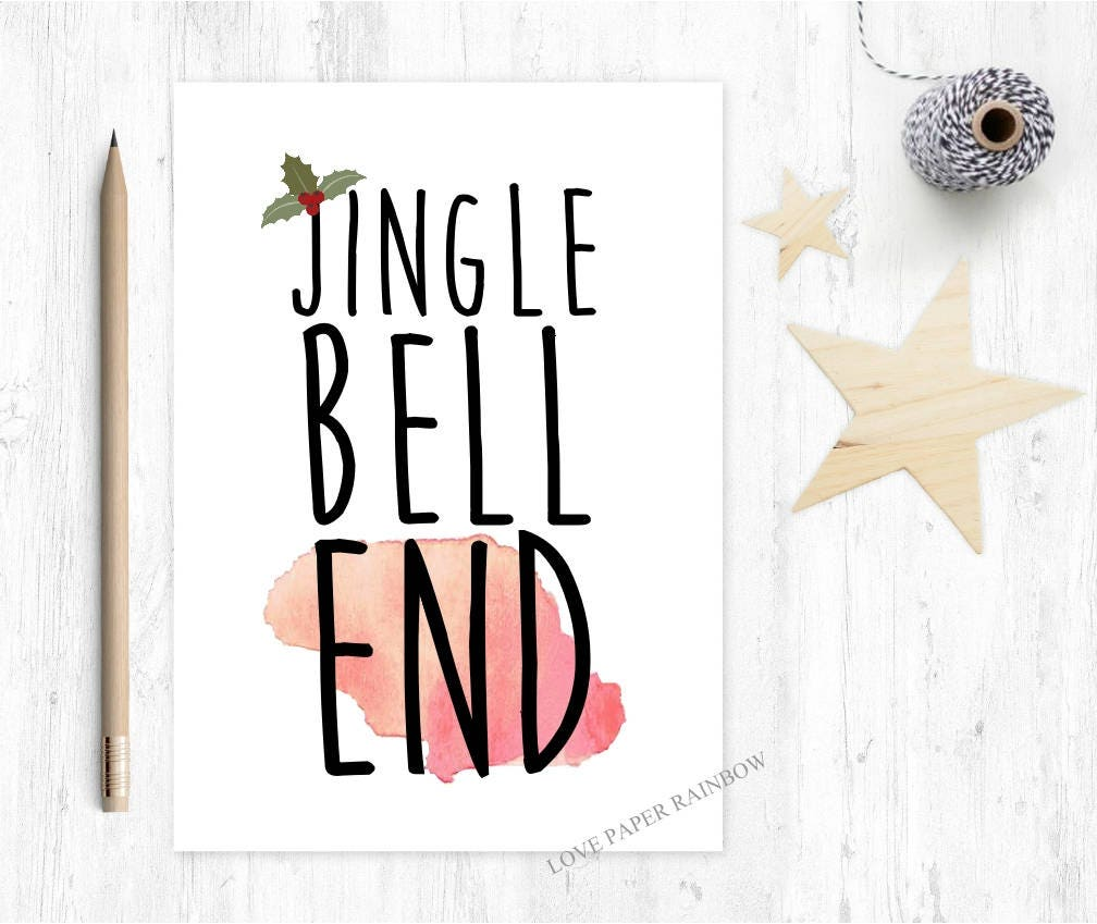 rude christmas card jingle bell end funny christmas card | Etsy