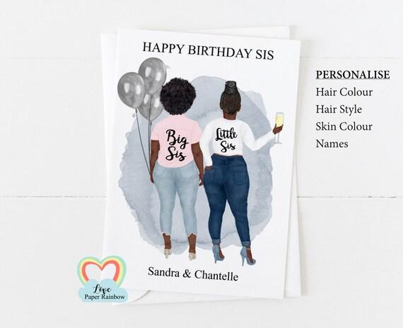 sister birthday card, little sister birthday card, big sister birthday card, big sis little sis, personalised sister birthday card,