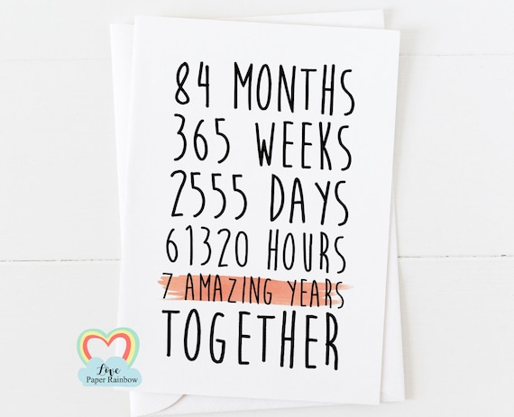 7th anniversary card, 7th wedding anniversary card, 7 years together, 7 amazing years, valentines card, gay anniversary card