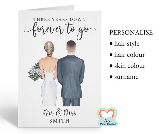 personalised 3rd wedding anniversary card, personalised anniversary card, 3 years down forever to go, personalised couples card, mr and mrs