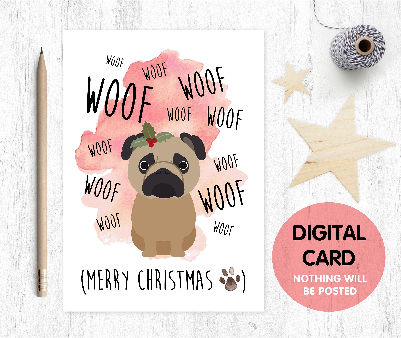 PRINTABLE christmas card, PUG christmas card, funny christmas card ...
