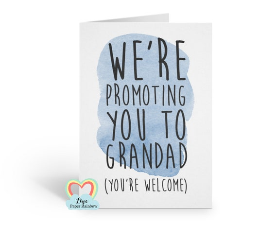 you're going to be a grandad funny card promoted to grandad pregnancy announcement i'm pregnant grandad reveal love paper rainbow