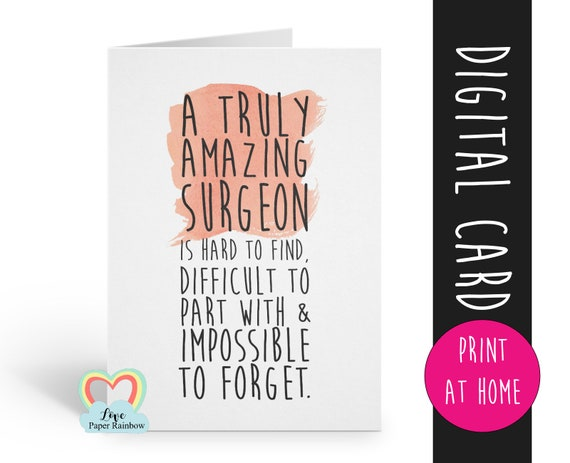 surgeon card printable surgeon Gift An amazing surgeon is hard to find surgeon retirement card surgeon appreciation digital download quote