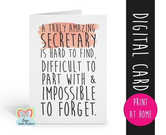 secretary card printable secretary retirement card instant download secretary thanks card a truly amazing secretary is hard to find