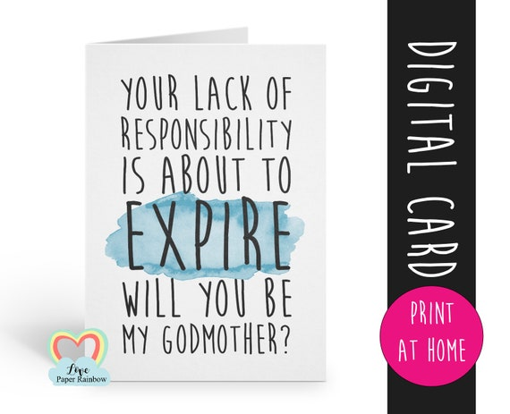 funny godmother card printable will you be my godmother instant download godmother card template print at home lack of responsibility