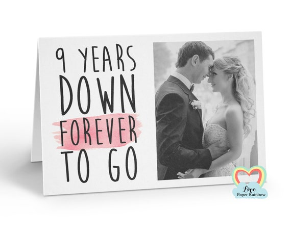 personalised 9th anniversary card, 9 years down forever to go, 9th wedding anniversary, love paper rainbow, anniversary photo card